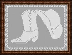 Filet Crochet CHART-Cowboy Boot and Hat. $5.00, via Etsy.
