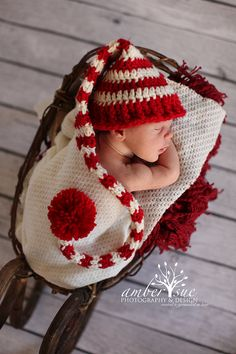 Crochet Baby Hat Elf Pixie Christmas Free shipping by LocustTree, $16.00