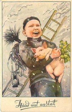 NEW YEAR-CHIMNEY SWEEP-LITTLE BOY HOLDING PIG-LUCK-R62775 | eBay