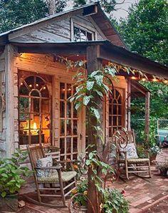 Jennys garden shed made with reclaimed building materials Living Vintage Garden Shed Diy, Diy Shed, Garden Cottage, Dream Garden, Cottage Porch, Backyard Cottage, Garden Shed Interiors, Backyard Studio, Backyard Sheds