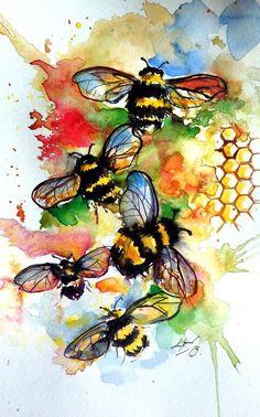 Animal Paintings, Paintings For Sale, Working Bee, Bee Painting, Bird Artwork, Bee Art, Impressionism Art, Lovers Art, Watercolor Paintings