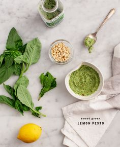 3 Healthy Green Juice Recipes - 3 healthy ways to get more greens into your day -  Sweet Green Lemon Pesto,  Green Rice with Lime, and a Green Ginger Peach smoothie.