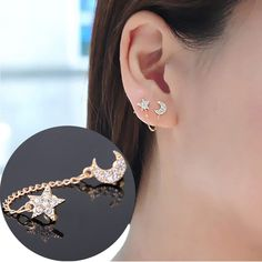 Fashion Women Gold Plated Moon & Star Shape Crystal Rhinestone Stud Earrings