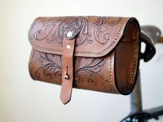 The Seeker - Hand tooled, Hand Sewn Veg Tan Leather Saddle Pouch.