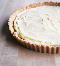 lemon tart with a ginger-lemon shortbread crust