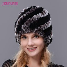 Hot 2017 New 100% Genuine Knitted Rex Rabbit Fur Hat Winter Lady Floral Cap Female Women Rabbit Fur Beanies hats free shipping
