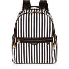 Henri Bendel West 57th Centennial Stripe Travel Backpack ($428) ❤ liked on Polyvore featuring bags, backpacks, white backpack, vertical-zip laptop backpack, stripe backpack, backpack travel bag and travel rucksack
