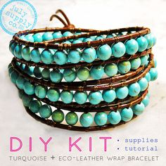 this july supply turquoise beaded leather wrap bracelet kit contains all  supplies   instructions to create a fabulous, one-of-a-kind bracelet. make it, wrap it wear it!hand selected gemstones, eco-tanned leather, button closure for a custom fit, all supplies needed plus simple illustrated instructions packaged in an aluminum tin and muslin bag - perfect for carrying your supplies or gifting to a lucky artisan crafter.no previous bracelet-making or beading experience needed....