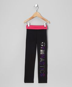 Take a look at this Black & Fuchsia 'Gymnastics' Yoga Pants - Girls by Happy Kids for Kids on #zulily today!
