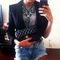 love the contrast of the statement necklace and structured cropped blazer with the casualness of the tshirt and jean shorts