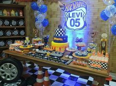 63 Husband Birthday Parties, 1st Birthday Boy Themes, Cars Birthday Parties, 1st Boy Birthday, Hot Wheels Birthday, Hot Wheels Party, Vintage Car Party, Car Themed Parties, Race Car Party