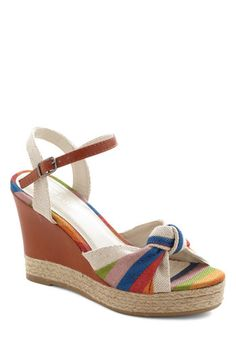 Beauty and the Boardwalk Wedge - Multi, Stripes, Daytime Party, Platform, Wedge, High, Brown, Beach/Resort, Summer