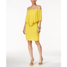 Thalia Sodi Off-The-Shoulder Ruffled Dress, ($90) ❤ liked on Polyvore featuring dresses, sunray yellow, frilly dresses, white ruffle dress, yellow dress, off shoulder ruffle dress and flounce dress