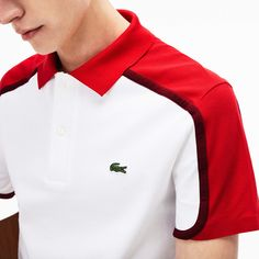 Lacoste Men's Made in France Slim Fit Pique Polo Lacoste Clothing, Polos Lacoste, Lacoste Men, Polo Shirt Outfits, Mens Polo T Shirts, Golf Shirts, Polo Shirt Design, Polo Design, Bordeaux