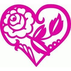 Silhouette Design Store - View Design #74761: pretty rose heart
