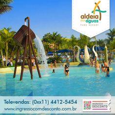 Situado em Barra do Piraí, o Aldeia das Águas Park Resort tem atrações para toda a família o ano inteiro! Com aproximadamente 45 mil m² de área construída, o resort possui um lindo complexo de piscinas, Piscina de Ondas, Rio Corrente, Complexo Esportivo, Spa e o Kid's Place. O Aldeia das Águas também possui atrações para quem adora adrenalina: Compre agora: www.ingressocomdesconto.com.br Televendas:(0xx11) 4412-5454