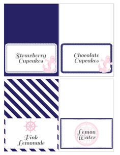 Classy Nautical Party Printable Food Tent Cards in by HelloBrielle, $8.00