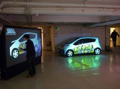 The YrWall Digital Graffiti Wall in use at the Chevrolet Spark Tour launch