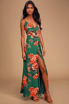 Twirl the night away in the Floral Flirtation Dark Green Floral Print Wrap Maxi Dress! Dresses For Teens, Trendy Dresses, Cute Dresses, Beautiful Dresses, Women's Dresses, Dresses Online, Maxi Wrap Dress, Floral Maxi Dress, Buy Dress
