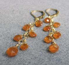 Mandarin Garnet Water Drop Earrings by Sueanne Shirzay on Etsy, $66.00