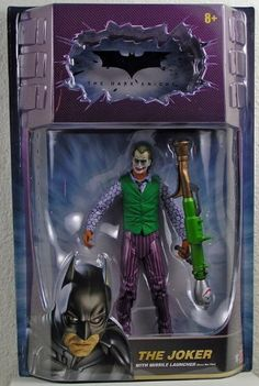 """Batman Dark Knight Movie Master Exclusive Deluxe Action Figure Joker with Missile Launcher by Mattel. $16.75. By fan-demand comes an all-new figure of The Joker from the second highest-grossing film of all time - The Dark Knight! Sculpted by The Four Horsemen, this highly-detailed, fully-articulated 6"""" figure comes with a movie-accurate accurate bazooka, as used by The Joker."""