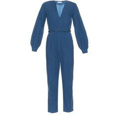 Rachel Comey Zip-front denim jumpsuit ($425) ❤ liked on Polyvore featuring jumpsuits, indigo, cropped jumpsuit, jump suit, blue jumpsuit, blue jump suit and jumpsuits & rompers