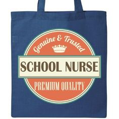Inktastic School Nurse Funny Gift Idea Tote Bag Retired Quality Premium Occupations Job Vintage Logo Career Reusable Grocery Book Hws, Blue