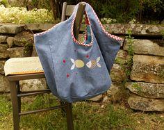 """sac avec transferts textiles """"Poissons"""" de chez """"Made for You"""""""