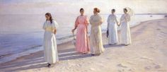 This painting by Michael Ancher shows Counselor Holst's four daughters and a girlfriend : Ida and Anna Holst , Elisabeth Bang , Minne and Sophie Holst taking a walk on the beach. A poster in size 50 cm x 26 cm Artist: Michael Ancher