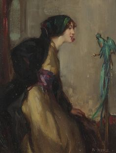 Robert Hope    Lady with an exotic bird.