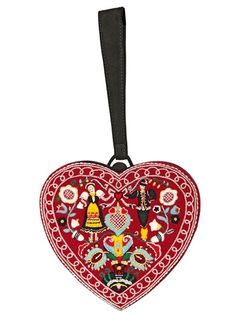 OLYMPIA LE-TAN - ULLY COTTON & SUEDE HEART CLUTCH - LUISAVIAROMA - LUXURY SHOPPING WORLDWIDE SHIPPING - FLORENCE