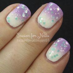 Splash #passionfornails #ombre #gradient #lavender #polish #mani #nailart - bellashoot.com