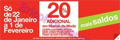 Saldos El Corte Inglés - de 22 de Janeiro a 1 de Fevereiro - 20% adicional em marcas de moda