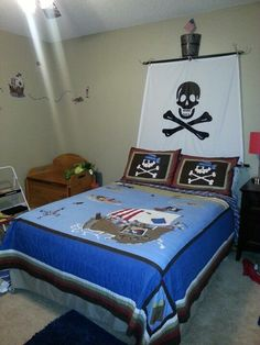 a little boy's dream room! Love the sail headboard idea - a flag at the top could have his name on! Pirate Bedroom Decor, Bedroom Themes, Kids Bedroom, Bedroom Ideas, Bunk Beds With Stairs, Boy Decor, Man Room, Dream Rooms, Decoration