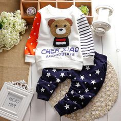 winter baby sets cartoon Panda velvet set twinset long sleeve hoodie+pants children