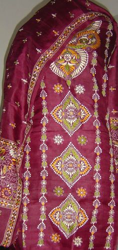 Pure silk suit with kantha stitch all over. For orders and inquiries, please mail us at naari@aninditacreations.com.  Like us at www.facebook.com/naari.aninditacreations