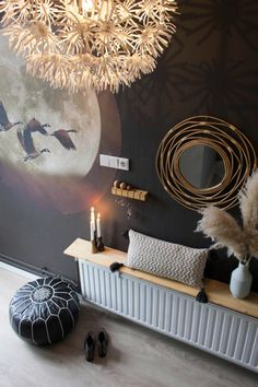 Hal make-over met Tranquil Dawn - Juudithhome- interieur & styling Simple Interior, Entrance Hall, Hallway Decorating, Luxury Living, Living Room Decor, Ceiling Lights, Dawn, House, Design