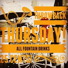 Throwback Thursday! All fountain drinks are .25 cents today! #theartisanrocks