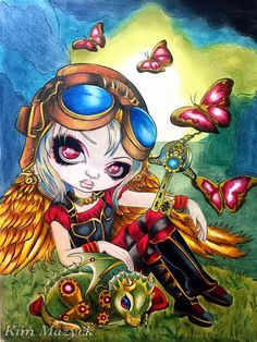 ✨Clockwork Dragoning✨ Book: Jasmine Becket-Groffith's A Fantasy Art Adventure Color Book  I used: Caran dAche Supracolor, Caran dAche Luminance , Caran dAche Museum, and Faber Castell Pastel (background)