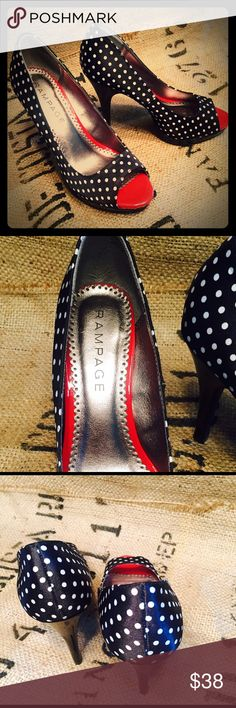 Rampage Polka Dot Heels. Size 7. Too cute! Rampage Polka Dot Heels. Size 7. Too cute! Black with Red Trim. New with No Box. Sorry no trades Rampage Shoes Heels