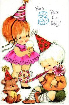 CHILD Birthday Card Teddy Bear For Three/ 3 Year Old Vintage 1960's NOS Unused