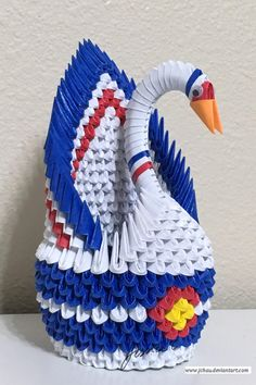 3D Origami Colorado State Swan.      I came up with this special design after a few months living in Colorado.  The state flag is imprinted in this beautiful swan.