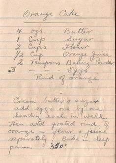 30-35 min. Susan Cutler My mom would make this when we were kids. While the cake was still warm she would combine some of the oj and sugar and pour it over the cake! When cooled the cake would have a bit of a crunch!!!. So goooood!!!