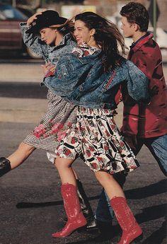 September 1989. 'Patterned thrift shop dresses over rustling petticoats.'
