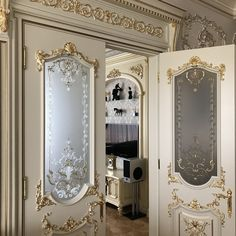 Door Design Wood, Fancy Living Rooms, Luxury Decor, Wooden Doors Interior, Bedroom Door Design, Elegant Home Decor, Door Glass Design, Interior Wall Design, Art Deco Door