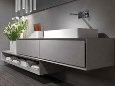 Mueble bajo lavabo suspendido de cemento K.ONE | Mueble bajo lavabo de cemento Colección K.One by RIFRA | diseño Byoung Soo Zocchi