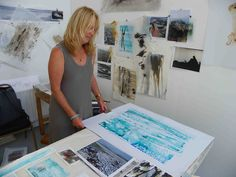 in-the-studio photo shoot, shows artist and her work