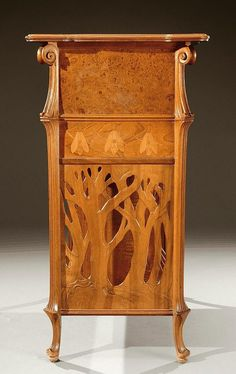 ** Emile Gallé (1846-1904), Nancy, Mahogany Table with Fruit Wood Inlays.