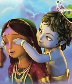 Mom's love, they say when you love from true heart ❤️ Krishna will give peace to your heart and soul ❤️ Baby Krishna, Little Krishna, Radha Krishna Love, Arte Krishna, Krishna Statue, Krishna Leela, Lord Krishna Images, Radha Krishna Pictures, Yashoda Krishna