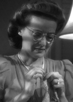 Bette Davis, crocheting in The Letter.  Crocheting is very much a part of the development of Bette's character in this movie.  It's quite remarkable.
